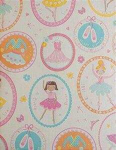 Papel de Parede Infantil Treasure Hunt - Fundo Branco com Bailarinas em Quadrinhos TH-68123