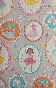 Papel de Parede Infantil Treasure Hunt - Fundo Cinza com Bailarinas em Quadrinhos TH-68124