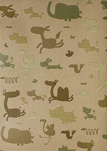 Papel de Parede Infantil Treasure Hunt - Fundo Marrom com Animais Verde Fendi TH-68149