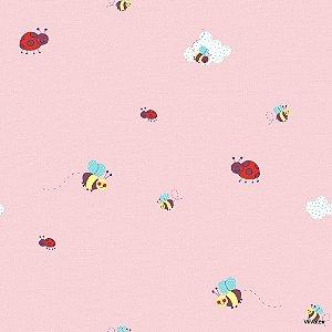 Papel de Parede Infantil Treasure Hunt - Joaninhas com Fundo Rosa TH-68116