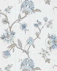 Papel de Parede Vitoriano Flores Azul e Creme SZ-003309