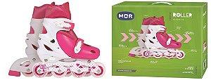 Patins Roller Infantil Rosa e Branco com Gatinho Ajustável do 30-33