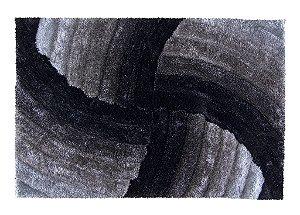 Tapete De Sala 3D 2,00x3 ,00 Cm Pelo Alto Degrade Macio Star Preto