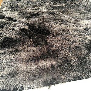 Tapete Estilo Shaggy ToroConfort Antiderrapante Preto Mesclado 1,00 x 1,50m