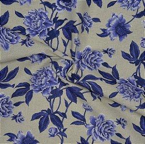 Tecido Acqua Sammer Bege Estampado Com Flores Azuis- Summer 314