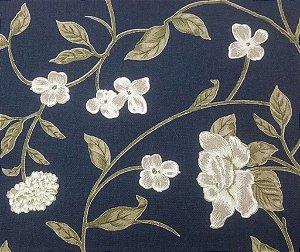 Tecido algodão impermeabilizado Floral Marinho Sev 01