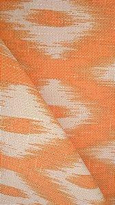 Tecido algodão impermeabilizado ikat Linhão Laranja e Creme Sev 40