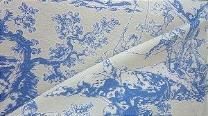 Tecido algodão impermeabilizado Liso Creme e Azul toile de jouy Sev 31