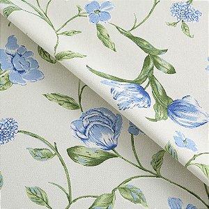 Tecido algodão impermeabilizado Liso Creme Floral Verde e Azul Sev 30