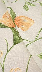 Tecido algodão impermeabilizado Liso Creme Floral Verde e Laranja Sev 37