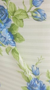 Tecido algodão impermeabilizado Listrado Creme Floral Azul Sev 32