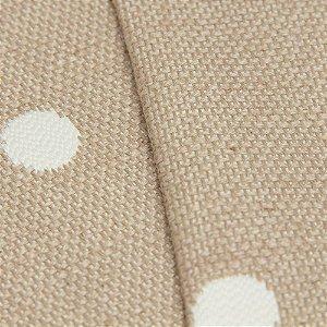 Tecido algodão Jacquard Impermeabilizado Cru Escuro e bolas Brancas - aus 34