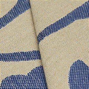 Tecido algodão Jacquard Impermeabilizado Cru Escuro e Floral Marinho - Aus 39