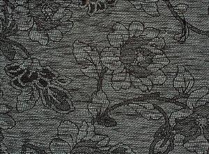 Tecido Chenille Floral Cinza Chumbo - Pol 25