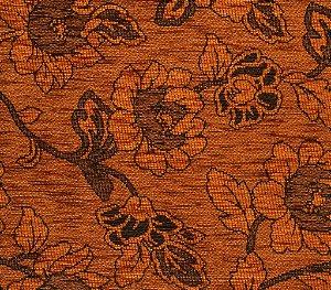 Tecido Chenille Floral Laranja - Pol 56