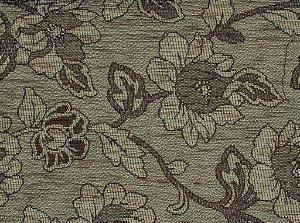 Tecido Chenille Floral Marrom Claro - Pol 18