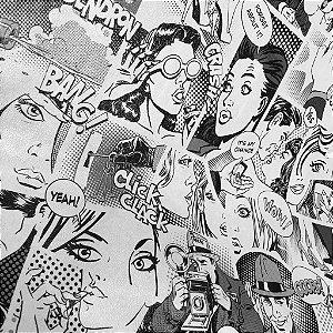 Tecido Corino Comics Gibi Branco e Preto