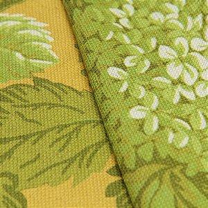 Tecido linho Impermeabilizado Floral Verde com Mostarda - Áust