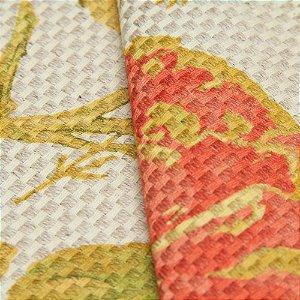 Tecido linho Impermeabilizado Trama Floral Mostarda e Vermelho - Aus 25