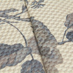 Tecido linho Jacquard Impermeabilizado Cru Trama com floral Cinza - Aus 33