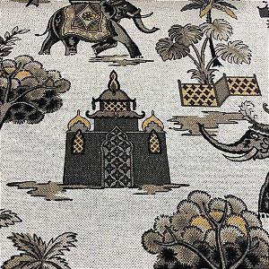 Tecido Para Sofá e Estofado Estampa de Elefante Em Tons de Amarelo e Marrom - Egito 27