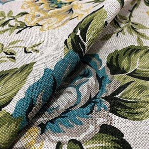 tecido para Sofá e Estofado Floral Em Tons de Azul, Verde e Amarelo - Egito 03