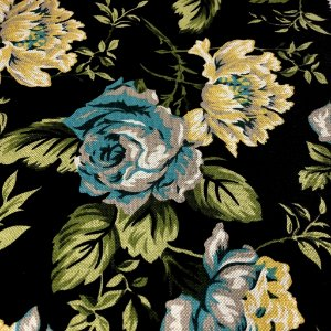 tecido para Sofá e Estofado Floral Em Tons de Azul, Verde e Amarelo - Egito 09