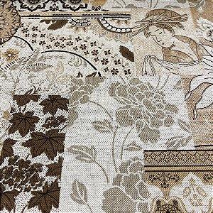 tecido para Sofá e Estofado Floral Em Tons de Bege - Egito 34