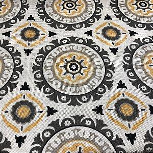 Tecido Para Sofá e Estofado Geométrico Em Tons De Amarelo e Cinza - Egito 29