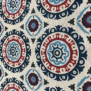 Tecido Para Sofá e Estofado Geométrico Em Tons De Vermelho e Azul - Egito 17