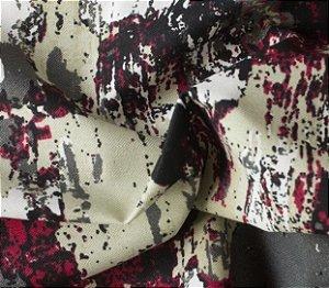 Tecido para Sofá e Estofado Impermeabilizado Cinza e vermelho Granito - AST- 47