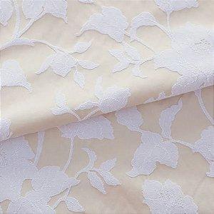 Tecido para Sofá e Estofado Jaquard  Amarelo e branco floral Estrelado - Ferr - 16