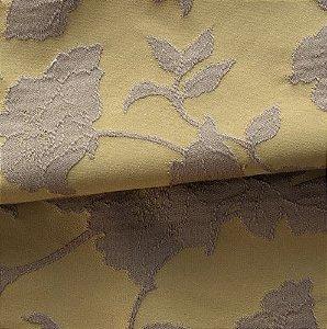 Tecido para Sofá e Estofado Jaquard  Mostarda e Marrom claro Floral - Ferr - 30