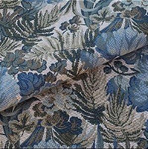 Tecido para Sofá e Estofado Jaquard Verde e Azul - Ferr - 35