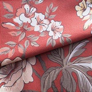 Tecido para Sofá e Estofado Veludo Floral Vermelho - MARSE 32