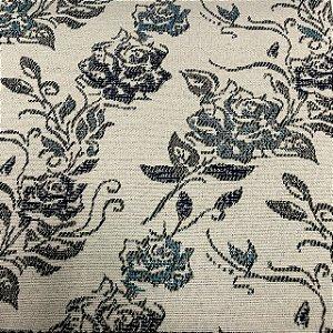 Tecido Para Sofá Jacquard Estampado Flores Azul- Évora 32