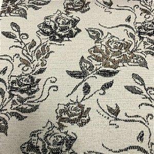 Tecido Para Sofá Jacquard Estampado Flores Marrom e Dourado- Évora 15