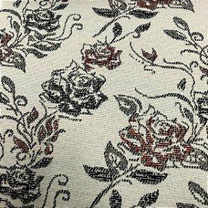 Tecido Para Sofá Jacquard Estampado Flores Marrom e Vermelho - Évora 23