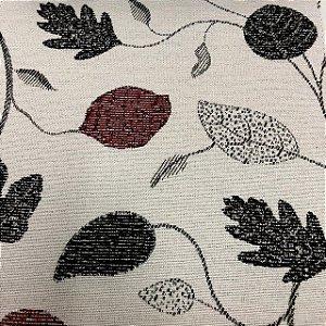Tecido Para Sofá Jacquard Estampado Folhas Marrom e Vermelho- Évora 19