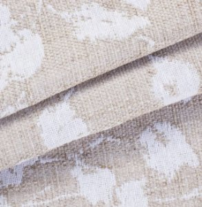 Tecido para Sofá Linho Rústico Folhas Bege e Branco - Vice 19