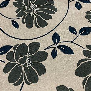 Tecido para Sofá Veludo Estampado Flores Fendi fundo Bege - Cali 01
