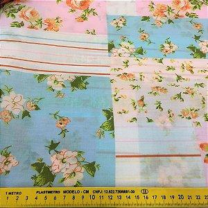 Tecido Tricoline Chita Patchwork Floral Azul com Branco - Gramado 81