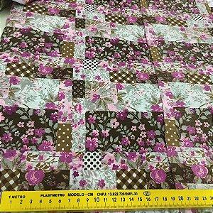 Tecido Tricoline Chita Patchwork Floral Pink com Marrom - Gramado 83