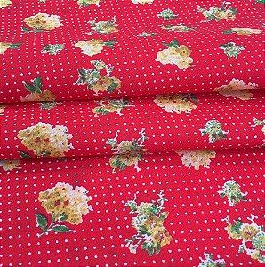 Tecido Tricoline Chita Patchwork Floral Vermelho - Gramado 63