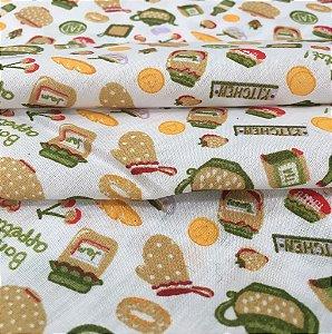 Tecido Tricoline Chita Patchwork Itens de Cozinha Verde Fundo Branco - Gramado 47