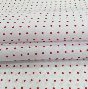 Tecido Tricoline Chita Patchwork Mini Poá Branco e Vermelho - Gramado 13