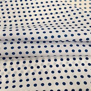 Tecido Tricoline Chita Patchwork Poá Branco e Azul - Gramado 3