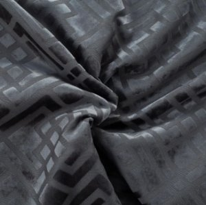 Tecido Veludo Alto-Relevo Geométrico  Chumbo - Inc 10
