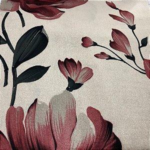 Tecido Veludo Estampado Fundo Bege com Flores Marsala– Califórnia 06