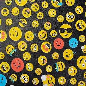 Tecido Corino Korino Emojis Fundo Preto